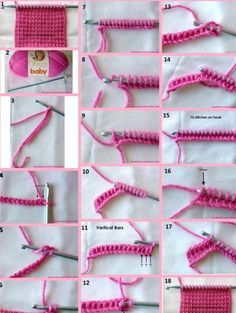 2 methods for adding stitches at the end of a row - nice and clear visual How to seamlessly increase(methods) Confession, I just love knitting illustrations even if I have no idea what to make with what they show. Slip last stitch to rh needle, pick Tunisian Crochet Patterns, Crochet Motifs, Knitting Patterns, Crocheting Patterns, Puff Stitch Crochet, Crochet Baby, Free Crochet, Diy Crafts Crochet, Crochet Projects