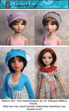 """PDF SEWING PATTERN 010 - Full tutorial. Four different hats or headgear for 16"""" Ellowyne Wilde and friends Raccoon's Rags"""