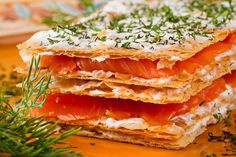 Millefeuille with smoked salmon