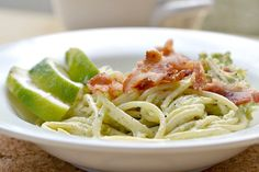 Creamy Avocado Pasta w/Chicken. But I am going to try it with turkey breast instead :)