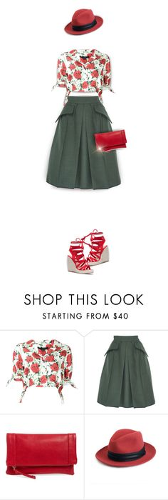 """""""Red and Green"""" by kiki-bi ❤ liked on Polyvore featuring Alexander Wang, Edeline Lee, Sole Society, rag & bone, Clutch, Wedges, Fedora, FloralTop and redandgreen"""