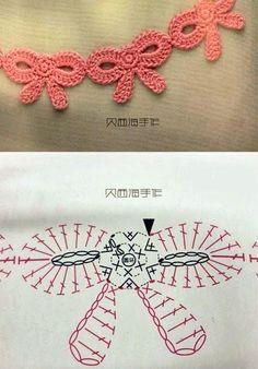 ideas for crochet edging patterns charts ganchillo Appliques Au Crochet, Crochet Bows, Crochet Diy, Crochet Borders, Crochet Diagram, Crochet Chart, Crochet Motif, Irish Crochet, Crochet Flowers
