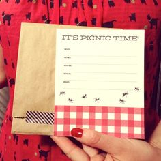 summer picnic invite - i like the brown bag envelope the most