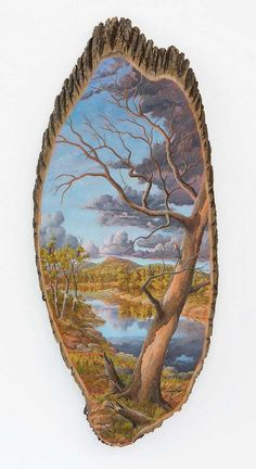 Paisajes pintados en troncos