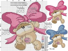 cross stitch alphabets with pink bows Cross Stitch For Kids, Cross Stitch Baby, Cross Stitch Animals, Cross Stitch Charts, Cross Stitching, Cross Stitch Embroidery, Sant Patrick, Fizzy Moon, Funny Cross Stitch Patterns