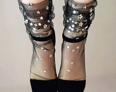 Black Starry Tulle Socks