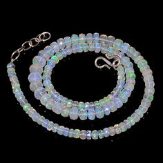 "65CRTS 4to7MM 18.4"" ETHIOPIAN OPAL FACETED RONDELLE BEADS NECKLACE OBI2118 #OPALBEADSINDIA"