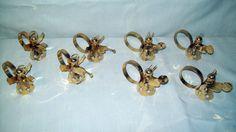 Set of (8) Brass Christmas Angel Napkin Rings - Beautiful!