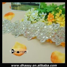 Hot sell gold beaded bulk lace trim for dress, View bulk lace trim, Dhorse Product Details from Guangzhou Dhorse Garment Accessory Firm on Alibaba.com