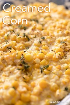 Creamed corn from Preppy Kitchen is the perfect side dish for everything from Thanksgiving and the holidays, to your next BBQ! A velvety smooth sauce loaded with lots of sweet corn flavor. #creamedcorn #bestcreamedcorn #sidedish