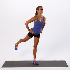 Glute Kick Backs: Stand with feet together. Put weight in your left leg, and raise the right leg behind you. Pulse it back for 15 seconds, lower the leg, and do 15 more with the left leg.   Source: POPSUGAR Studios