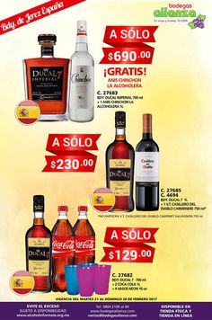 Bodegas Alianza esta semana tiene las siguientes ofertas de vinos y licores del 21 al 28 de febrero: 20% de descuento en toda la familia Hornitos 700 ml, 7
