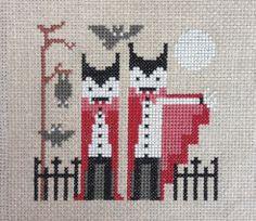 Fangtastic / cute and spooky modern cross stitch / Crafty like a Fox