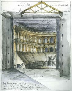 A study of Teatro Farnese, Parma (c1618) rendered in wash add just the right shadows and detail to fully understand the complexity of the site.