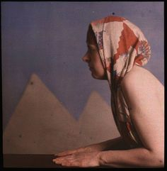 Autochrome process. Woman posed as sphinx by Dr. W. Simon, ca. 1910