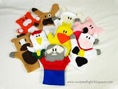 Felt Old MacDonald's Farm Puppets tutorial and free pattern