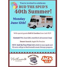 """APPLE PIE POUTINE!?    Save the date June 12  From @budthespudhalifax  BUD's 40th BDAY BASHCome to the corner of Grafton and Spring Garden this Monday June 12th (11:00am-4:00pm) to celebrate Bud the Spud's 40th summer in Halifax.  we're introducing summer long contests our new """"JACK'd up fries"""" campaign that raises funds for the Northwood Music Therapy program and a new dessert menu item! Stop by for your chance to WIN food and merch and say hi to Griff and Caroline from JACK 92.9 Halifax…"""