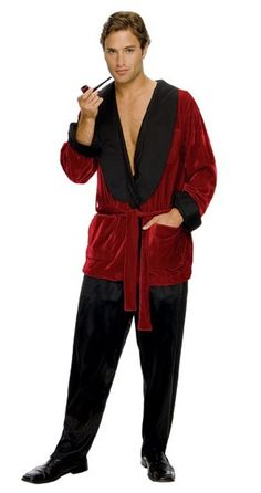 Playboy Hugh Hefner Smoking Costume - Become the suave gentleman you always wanted to be in this officially licensed Playboy Hugh Hefner costume.   This Hugh Hefner costume comes with the iconic Playboy red smoking jacket. It is made out of crushed velvet material with two side pockets. The lapel is made of black slightly shiny material. Screen printed on the back is the word 'Playboy' and the Playboy bunny. #playboy #movies #yyc #costume