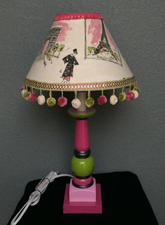 Lamp Paris green pink fringed Eiffel Tower hand painted fabric covered shade by HolyChicBoutiqueCo on Etsy