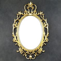 Gold Ornate Vintage Mirror - Floral Frame - Oval - Victorian - Hollywood Regency by TheCherryAttic on Etsy