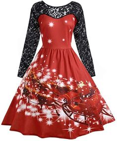 Vovotrade Women Christmas Printed Vintage Dresses Evening Party Prom Swing Dress XMas Gift