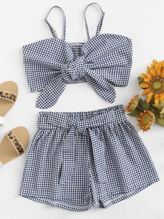 Knot front cami top with shorts Cute Girl Outfits, Cute Summer Outfits, Baby Girl Dresses, Cute Casual Outfits, Pretty Outfits, Stylish Outfits, Girls Fashion Clothes, Teen Fashion Outfits, Outfits For Teens