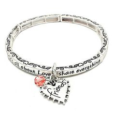 All About Love Charm Bracelet, 'Friends' - This Silver Stretchy Bangle Bracelet Is The Perfect Gift Making Your Special Friend Feel Loved *** Read more reviews of the product by visiting the link on the image.