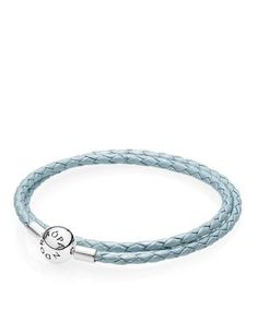 Pandora Light Blue Leather Double Wrap Bracelet | Imported | Style #590734CBL | Clip closure | Leather/sterling silver | Photo may have been enlarged and/or enhanced | Web ID:1725030