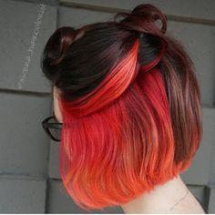 Under Hair Color, Hidden Hair Color, Cool Hair Color, Flame Hair, Peekaboo Hair, Underlights Hair, Dying My Hair, Aesthetic Hair, Coloured Hair