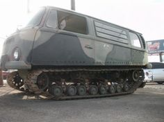 VW Camper Converted Into Tracked Off-Road Tanker/// I have SEEN this in person, it is about 45 minutes from where I live. Volkswagen, Vw T1, Maserati, Bugatti, Ferrari, Transporter T3, Vw Camping, Vw Classic, Bug Out Vehicle