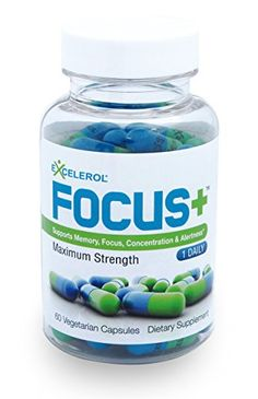 Focus+ by Excelerol – Supports Memory, Focus, Concentration & Alertness – Maximum Strength – ONE DAILY – 60 DAY SUPPLY