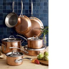 Calphalon® Tri-Ply Copper 10-Piece Cookware Set in Cookware Sets | Crate and Barrel