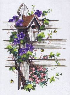 Nest Box & Bees by Permin A pretty picture of a bird box on a wooden fence entwined with purple clematis.