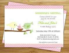 Bird  Girl baby shower invitation /invite  by 2birdstudios on Etsy, $12.00