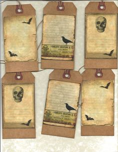 12 PRIMITIVE TAGS           Witches Journal Tags         Hang Tags     folk     Grungy. $3.99, via Etsy.
