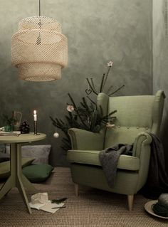 TDC:Four Beautiful Reading Nooks. Styling & photography by Daniella Witte Living Room Green, Bedroom Green, Home Living Room, Strandmon Ikea, Sinnerlig Ikea, Ikea Armchair, European Home Decor, Scandinavian Interior Design, Shabby Chic Bedrooms