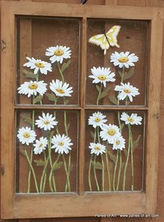 Window Pane Paintings Love This Painted Old Windows Painted Window Panes Window Art Old Windows Painted, Painted Window Panes, Window Pane Art, Painting On Glass Windows, Old Window Frames, Glass Painting Designs, Antique Windows, Vintage Windows, Paint Designs