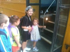 MaKayla and Callie getting on the bus! #1stdayofschool