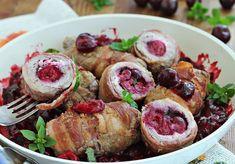 Roladki z polędwicy z wiśniami - DoradcaSmaku.pl Food Videos, Feta, Potato Salad, Sushi, Sausage, Potatoes, Ethnic Recipes, Sausages, Potato