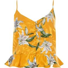79e72326dc1 River Island Yellow tropical peplum cami top (€39) ❤ liked on Polyvore  featuring
