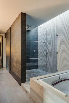 Home Design, Stuuning Modern Bathroom Shower With Glass Door And White Stylish Box Bathtub In Modern Triplex House Plans: Minimalist Modern ...