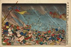 """The defeat of Mongol army in 1281 as prophesied by Nichiren"". Ships of the invading Mongolian army were battered by a severe storm, and the survivors were easily vanquished by the Japanese soldiers.  Illustrated Abridged Biography of Kôsô (Nichiren) by Utagawa Kuniyoshi. Publisher Ise-ya Rihei (Kinjudo) 1835-1836."