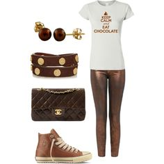 chocolate by vienna-austria on Polyvore featuring Current/Elliott, Converse, Chanel, Tory Burch and Splendid Pearls