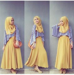 ♥ Muslimah fashion & hijab style Awesome contrast by stripes Hijab Look, Hijab Style, Hijab Chic, Islamic Fashion, Muslim Fashion, Modest Fashion, Muslim Girls, Muslim Women, Outfit Trends