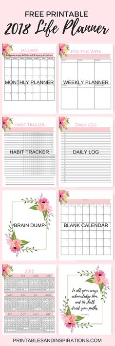 printable calendar free 2018, Free pink calendar, life planner, weekly planner, habit tracker, daily log, journal, brain dump, inspirational, floral