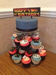 Back to the future themed cupcake tower - Little Lette Cakes, Edinburgh