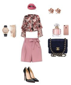 """women"" by mawena-17 ❤ liked on Polyvore featuring Miss Selfridge, Christian Louboutin, Chanel, River Island, Guerlain, Allurez, Jessica Carlyle and Belkin"