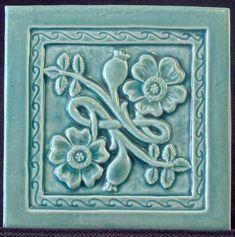 Art Deco-inspired wild roses tile in ceramic from earthsong tiles William Morris Art, Art Nouveau Tiles, Vintage Tile, Antique Tiles, Arts And Crafts Movement, Decorative Tile, Tile Art, Aqua, Teal