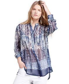 d37b5ff6bd45f Violeta by Mango Plus Size Tie-Dyed Blouse Plus Sizes - Tops - Macy s