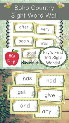 My Boho Country Sight Word Wall Posters feature Fry's First 100 Words. 55 pages of sight words accented with subtle colors and Bohemian themed graphics! #teacherspayteachers #tpt #sightwords Sight Word Wall, Sight Words, 2nd Grade Activities, Reading Resources, Classroom Resources, 2nd Grade Classroom, 100 Words, Teacher Favorite Things, Task Cards